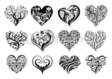 Satz Von 25 Tattoo Herzen Bild Vektor Symbol 15
