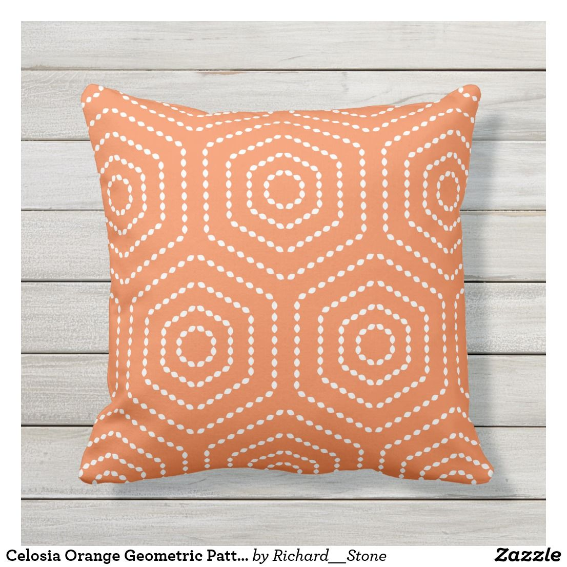 Celosia Orange Geometric Pattern Pillow Zazzle Com Throw Pillows Outdoor Pillows Geometric Pattern