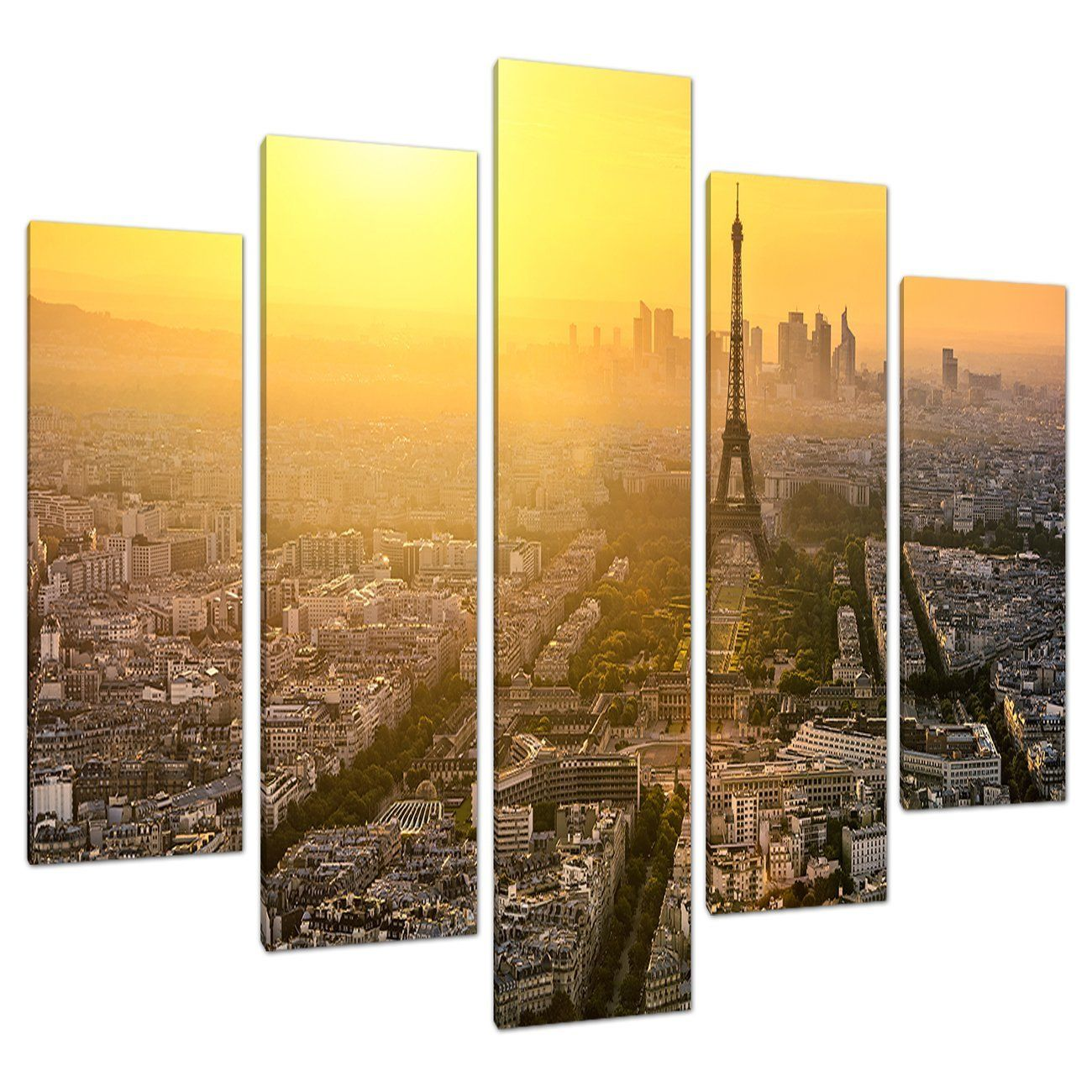 Set 5 Eiffel Tower Yellow Canvas Wall Art Pictures Paris France 5153 ...