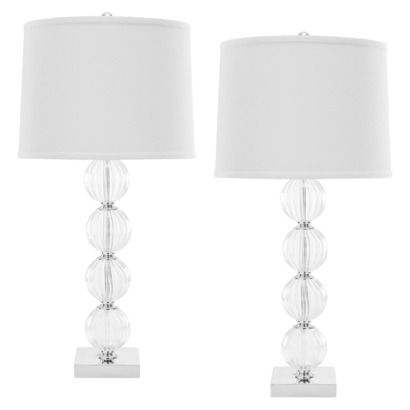 Glass Ball Table Lamp With Silk Shade   White (Set Of 2) (Includes