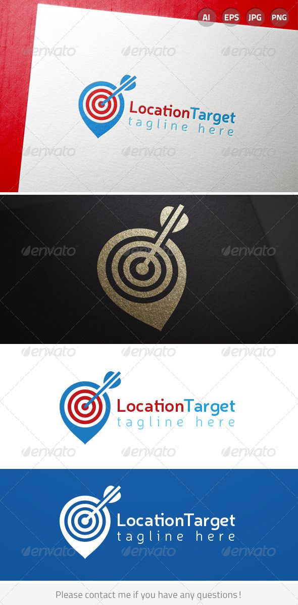 Location Targeting Marketing Bullseye Arrow Logo Includes Cmyk Color Black And White Versions Includes Ai Cs6 Eps 10 300d Logos Arrow Logo Logo Templates