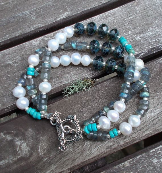 Freshwater Pearls with Turquoise and Labradorite Artisan 3 Strand Bracelet and Earrings Set