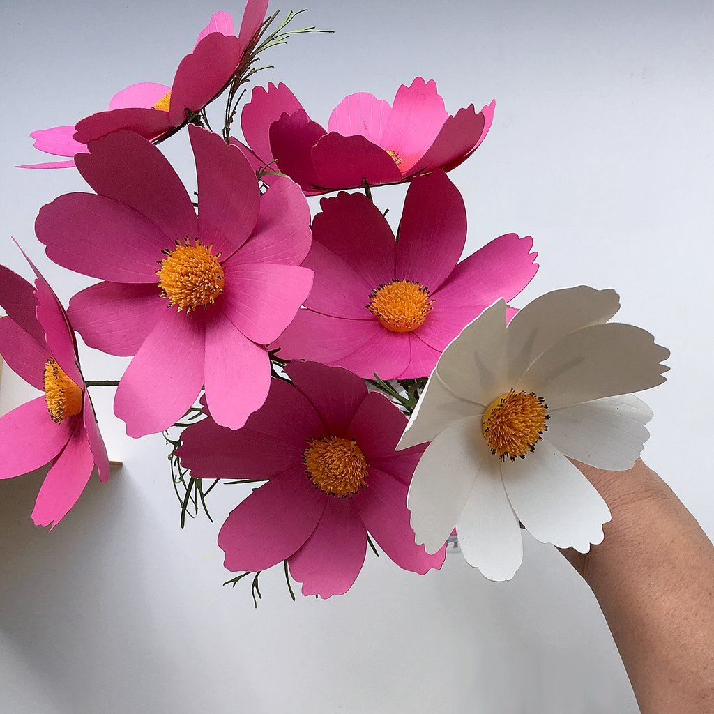 Paper Flower Cosmos for Cricut & Silhouette Cutting Machines (SVG, DXF) #paperflowertutorial