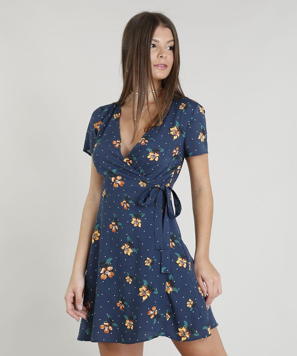 9786a70cf Vestido-Feminino-Envelope-Estampado-Floral-Decote-V-Azul-Escuro ...