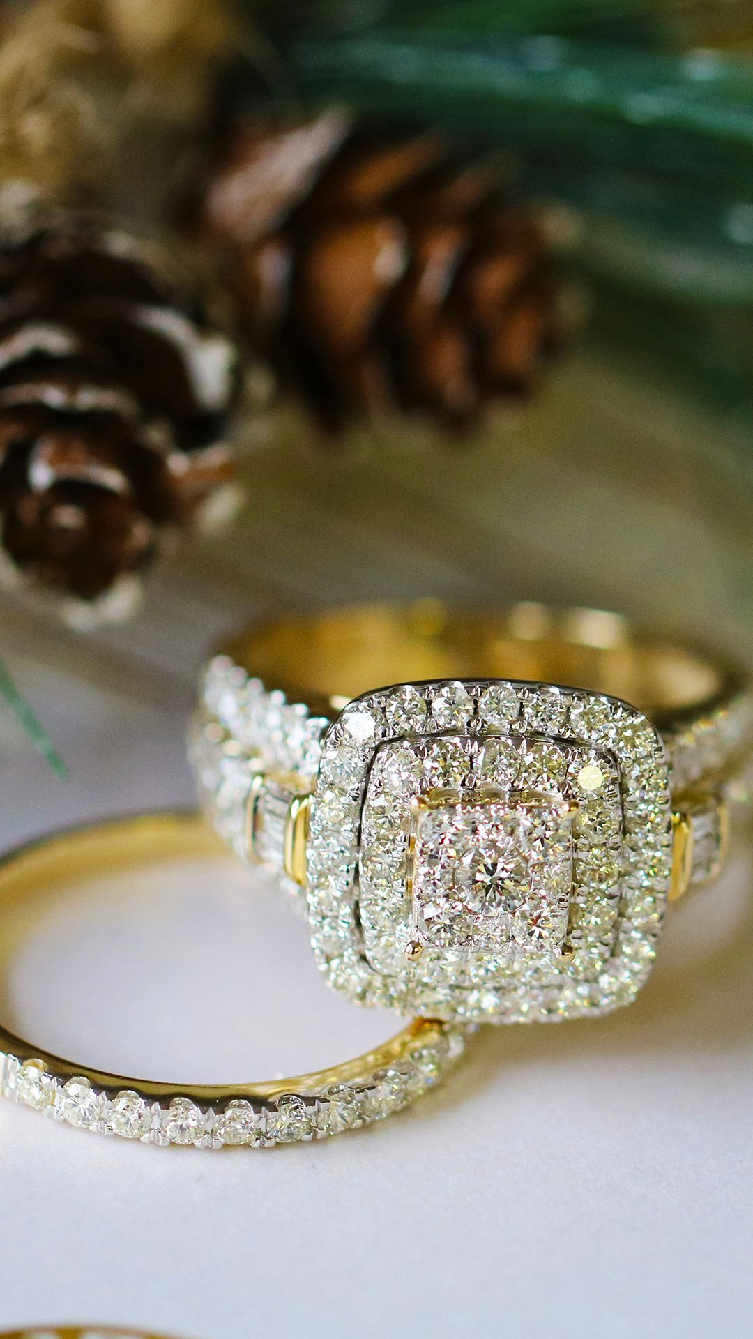 Yellow Gold Plus Size Diamond Bridal Set By My Trio Rings Crafted In Sizes 11 20 Explore More Matching En Bridal Ring Sets Diamond Bridal Sets Black Jewelry