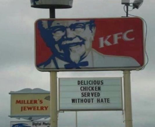 Funny Kfc Signs: KFC Sign Bashes Chik-Fil-A For Opposing Gay Marriage