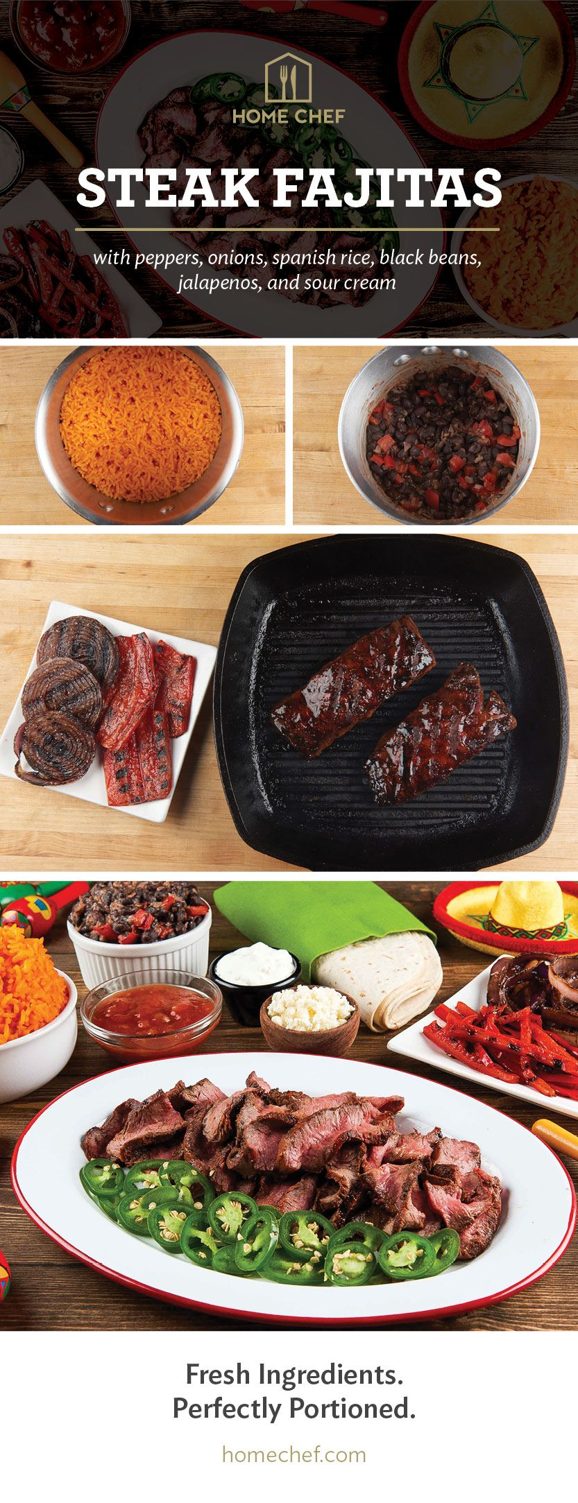 Steak Fajitas With Peppers Onions Spanish Rice Black Beans Jalapenos And Sour Cream The Table Recipes Food Mexican Food Recipes