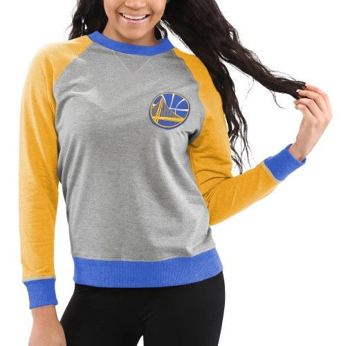 Golden State Warriors Women s Bonfire Raglan Crew Fleece Sweater – Gray 76bdba66f