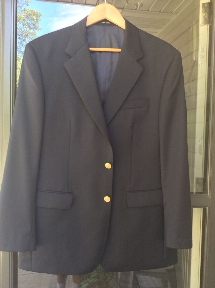Men's Marshall Field Sportcoat Blazer Navy Blue Gold Buttons NWT 41R Needs Clean #MarshallFields #TwoButton