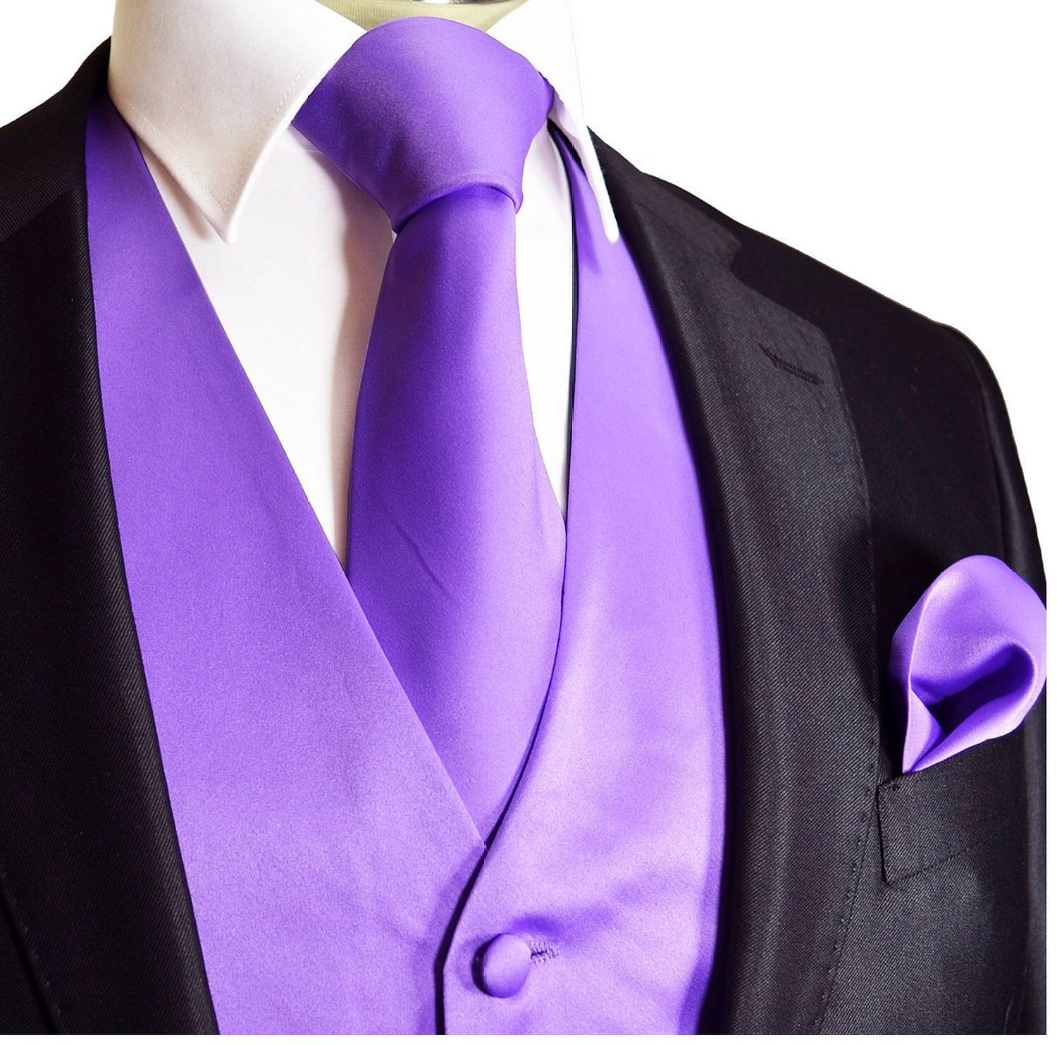 Black Tux With Lavender Vest And Tie This Is Exactly