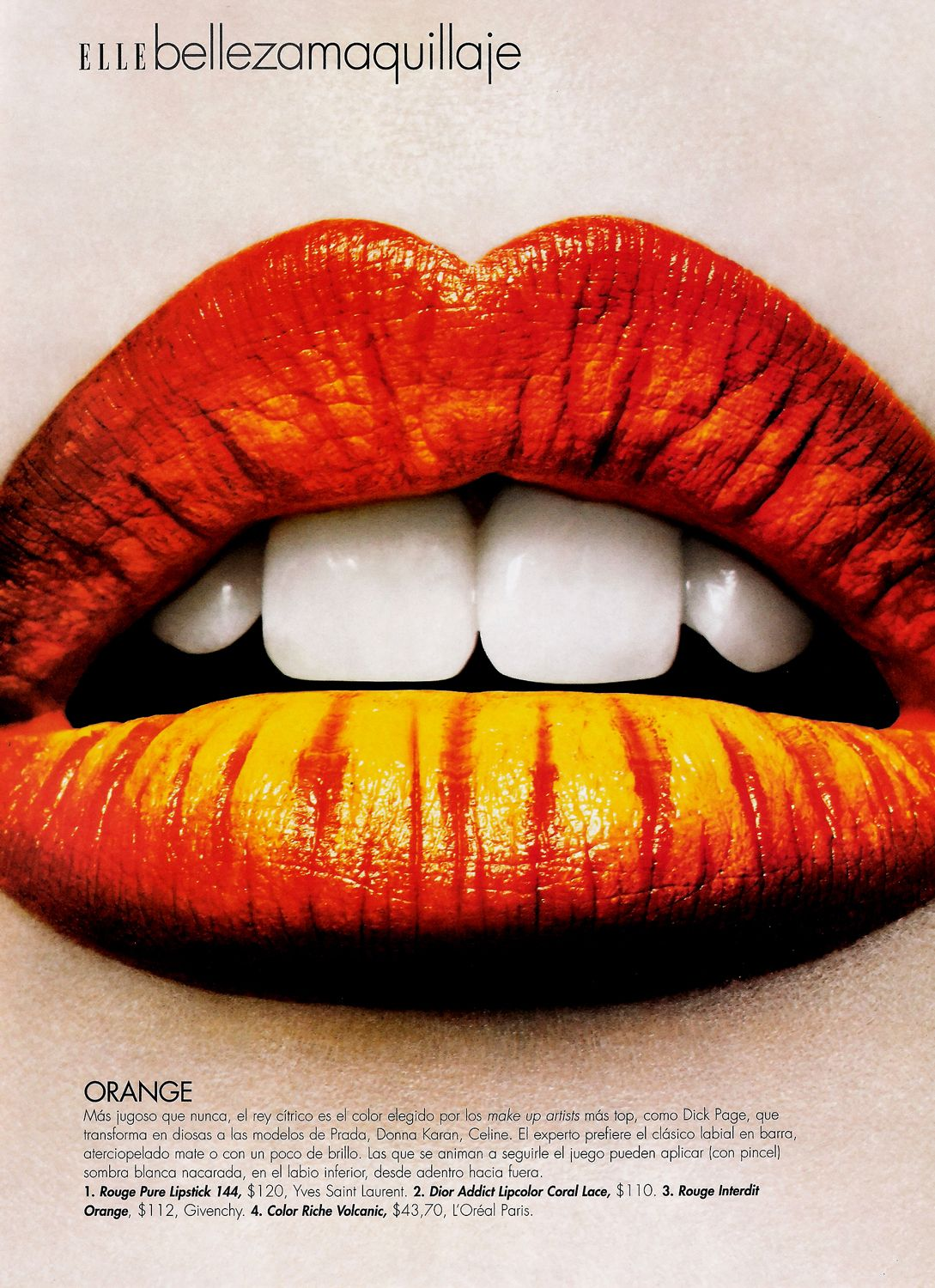 Elle Argentina Nov 2009 By Mierswa Kluska Orange Lips Lip Art