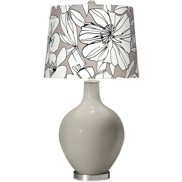 Color Plus Requisite Gray Graphic Floral Shade Ovo Table Lamp ($140) ❤  Liked On