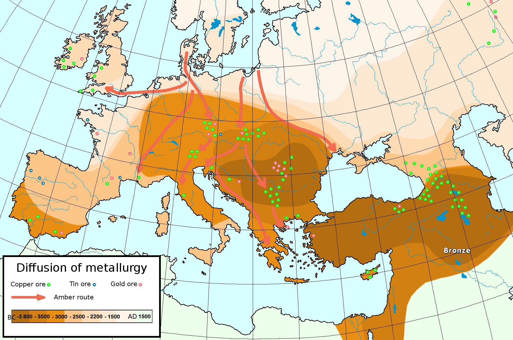 Diffusion of metallurgy r1b df27 pinterest sumerian history map diffusion of metallurgy in europe and asia minor the darkest areas are the oldest is a time period characterized by the use of bronze proto writing gumiabroncs Images