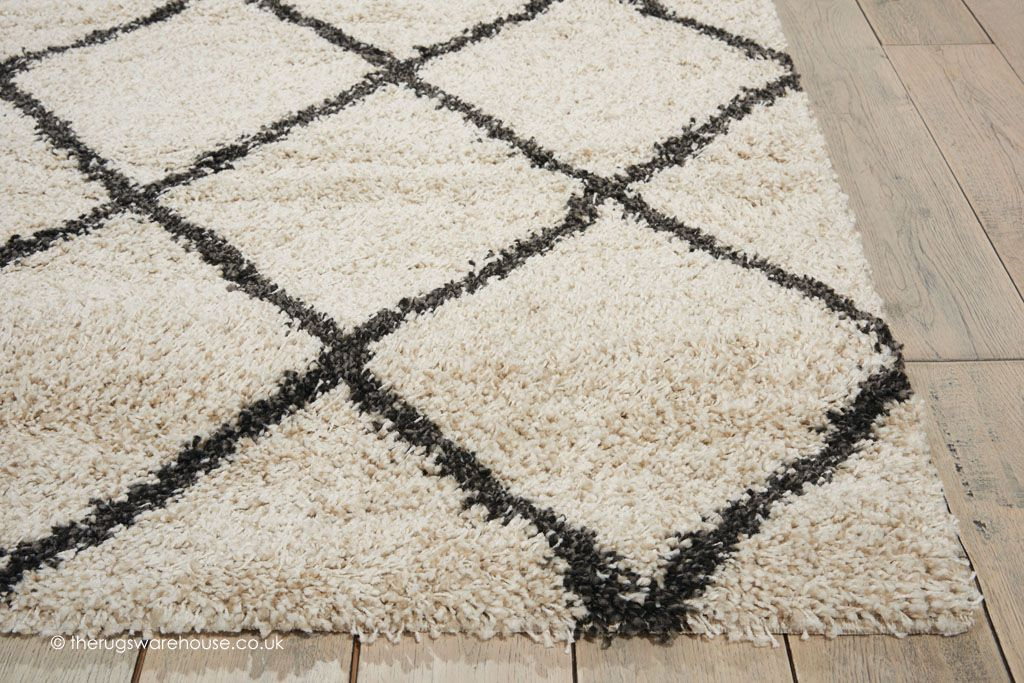 New Brisbane Ivory Charcoal Rug Texture Close Up A Monochrome Modern Gy