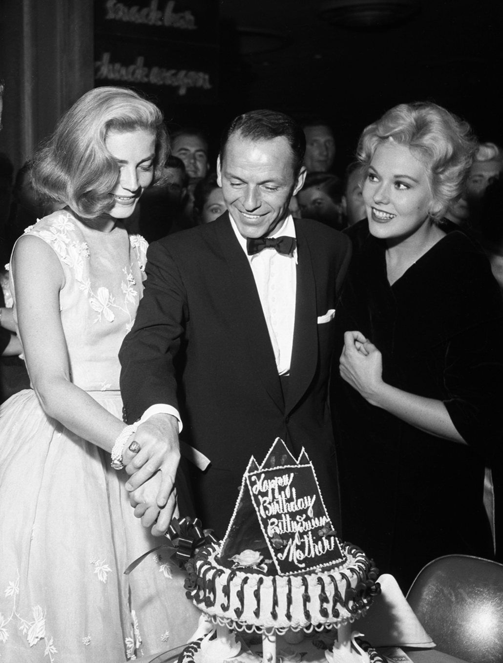 Fifties Lauren Bacall Cutting Her Birthday Cake With Frank Sinatra