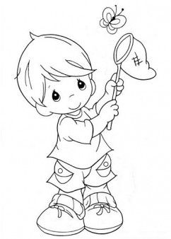 Printable Little Boy Catching Butterflies Coloring Pages