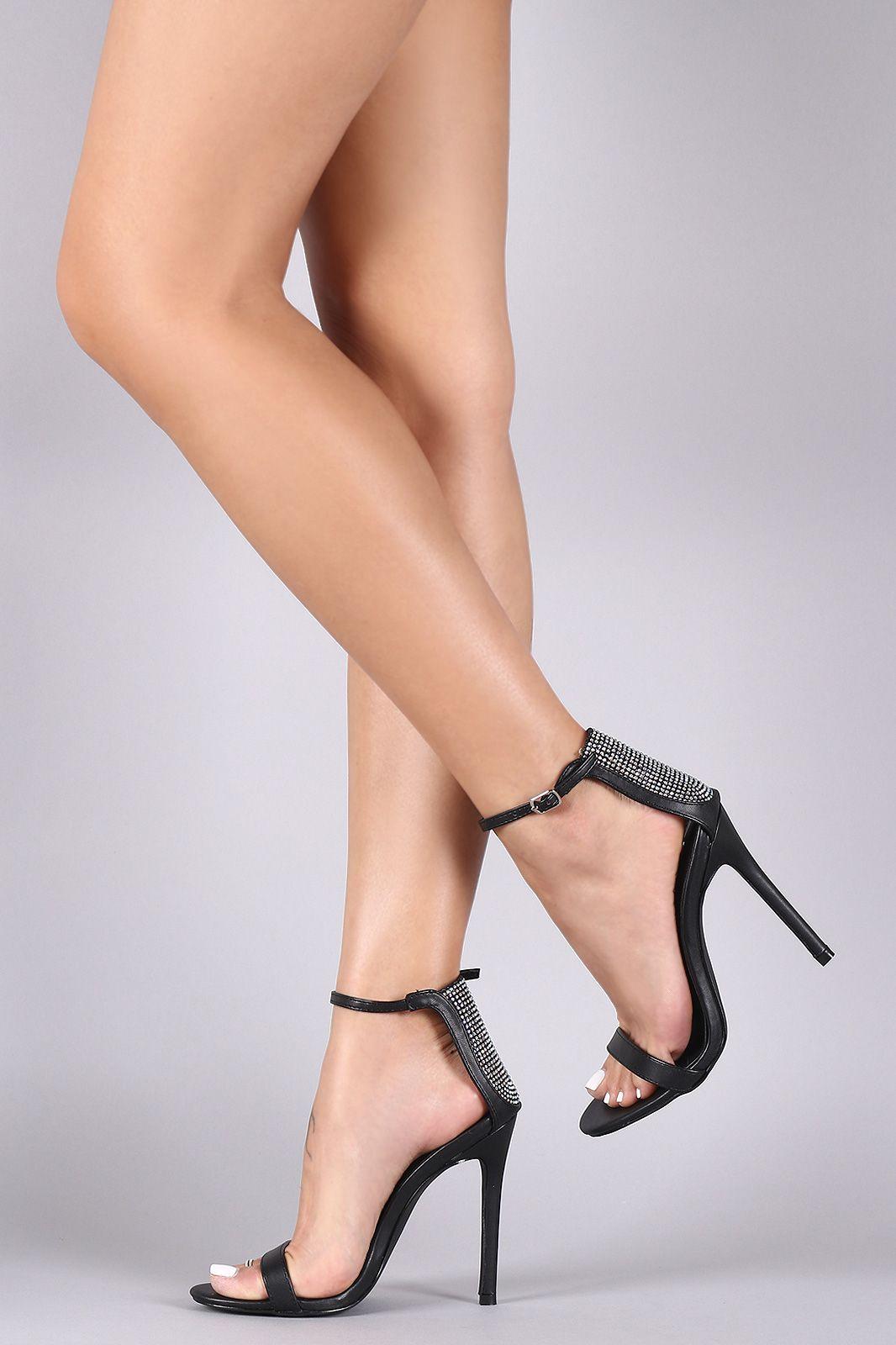 Women Ankle Sandals Dress Pump Rhinestones Hollow Open Toe Stiletto Heel Back Zipper High Heels Sandals Memela
