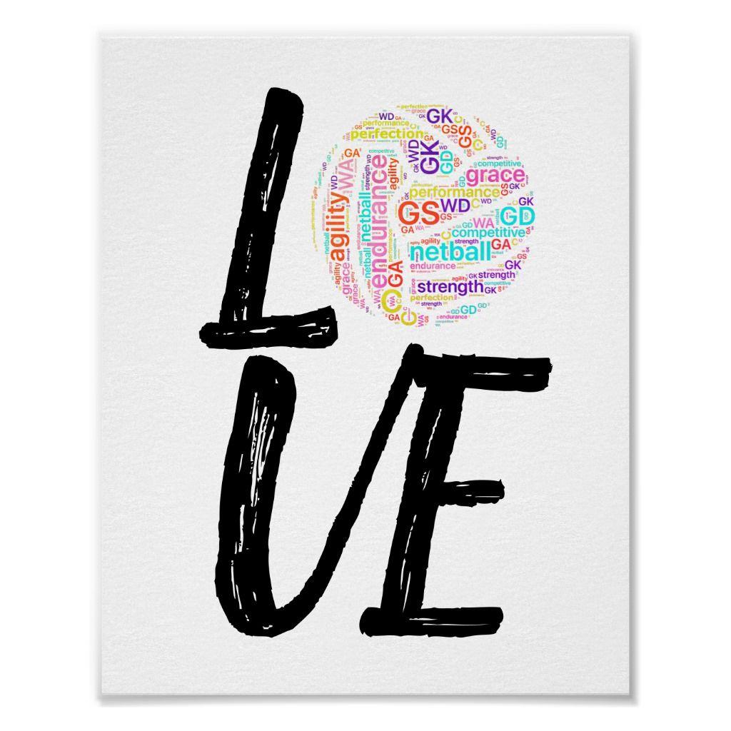 Word Art Ball Design Love Netball