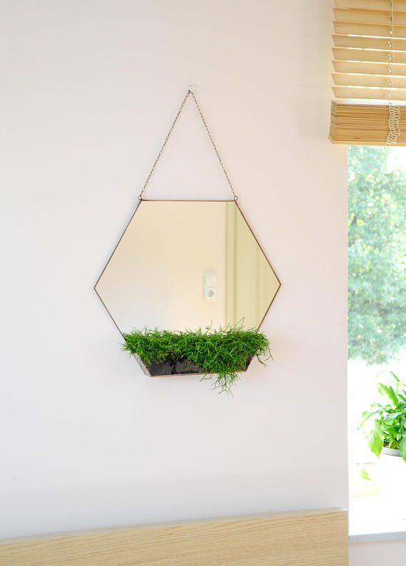 Hexagon mirror & terrarium - Modern home decoration - Large Mirror ...