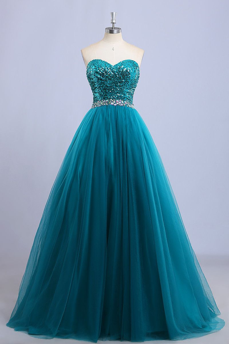 Teal sequin tulle prom dress with sweetheart neckline dresses