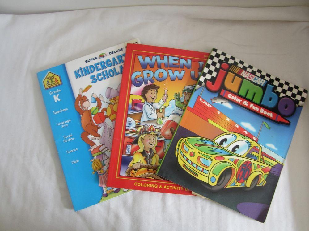 Lot Of 3 Coloring Books Nascar Jumbo When I Grow Up Kindergarden Scholar Coloring Books Color Activities Kindergarden