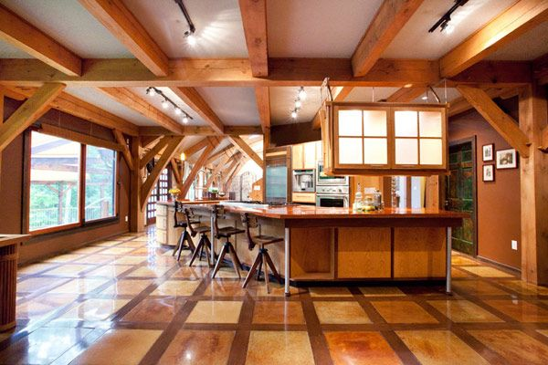 Wonderful Timber Framed House Interior Designs: Sleek Wooden Kitchen  Decoration Beams Ceiling Modern Timber
