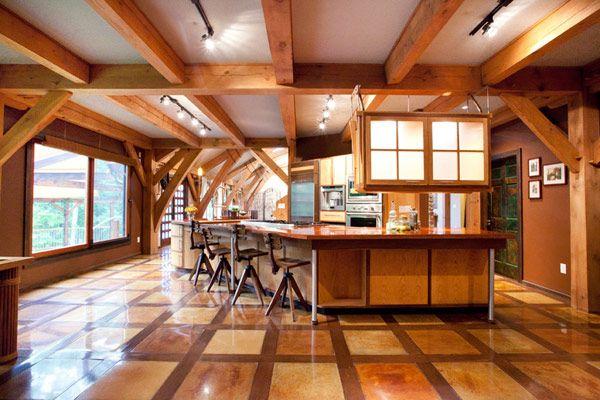 wonderful timber-framed house interior designs: sleek wooden