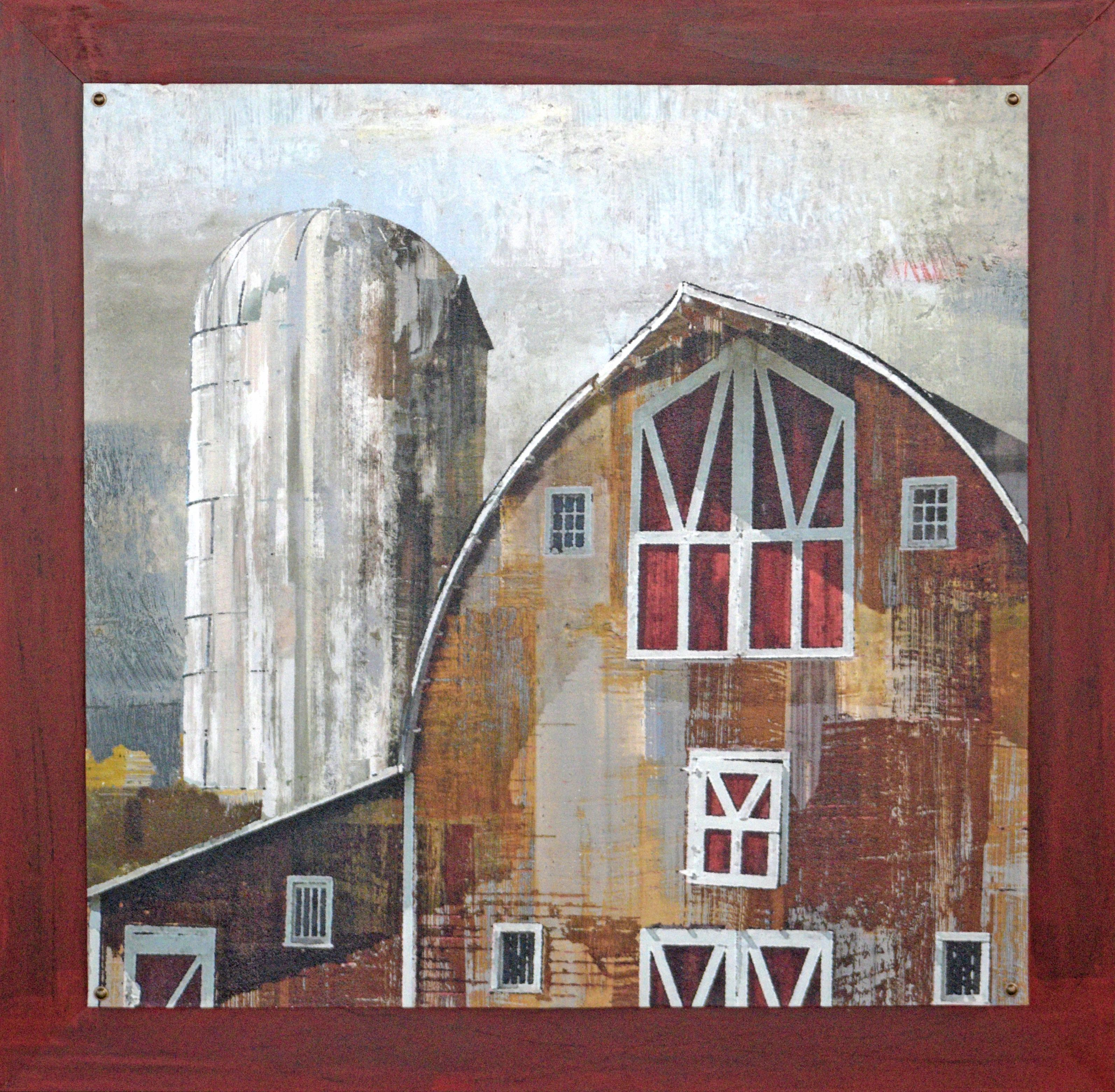 A country barn is textured with a hand painted wood frame and hand