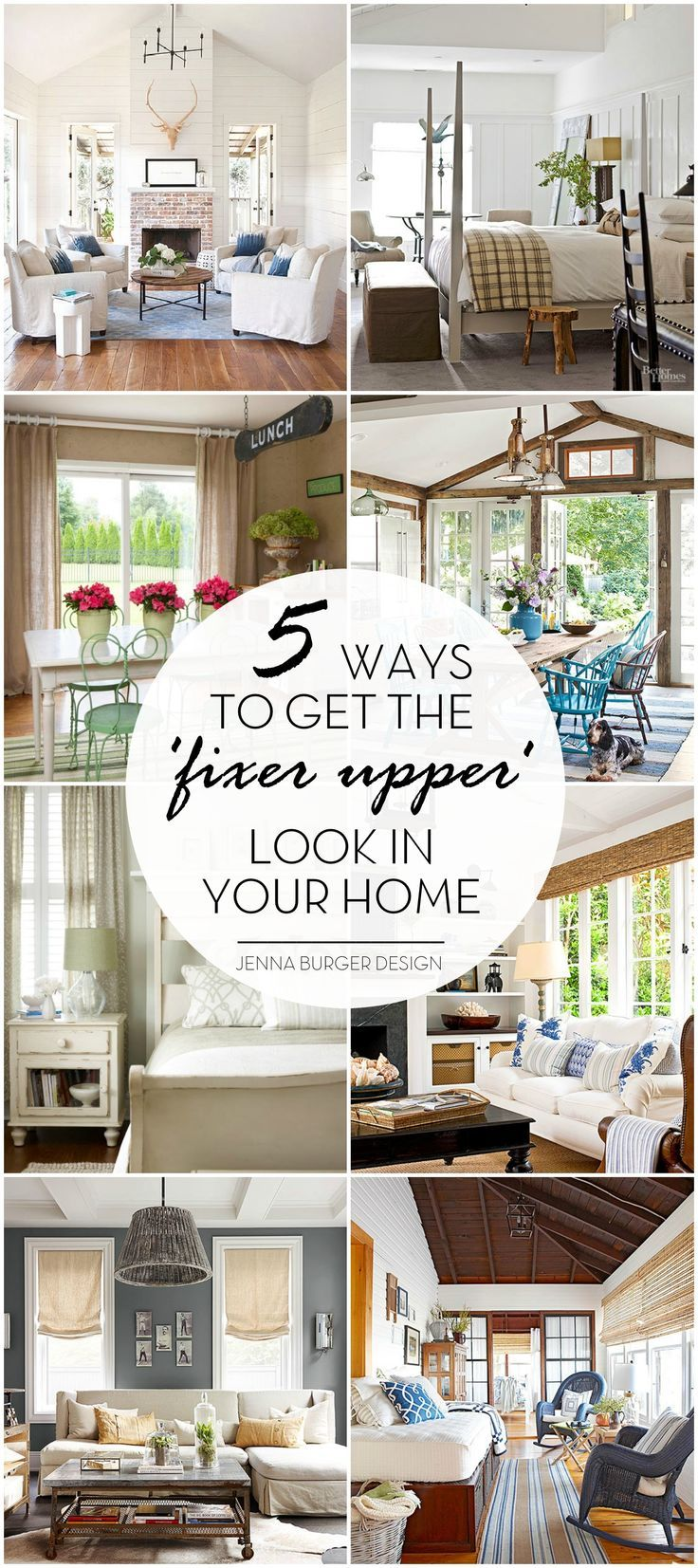 Ideas : Who doesn't love the HGTV show Fixer Upper with Joanna + Chip Gaines?! Check out these 5 Ways to Get the 'FIXER UPPER' style in your home. Inspiration round up by www.JennaBurger.com