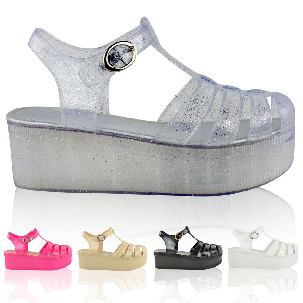 f6c9407a5212 LADIES WOMENS WEDGES JELLY SANDALS CHUNKY PLATFORM GLADIATOR SUMMER SHOES  SIZE  BuffShoes  Gladiators  Casual