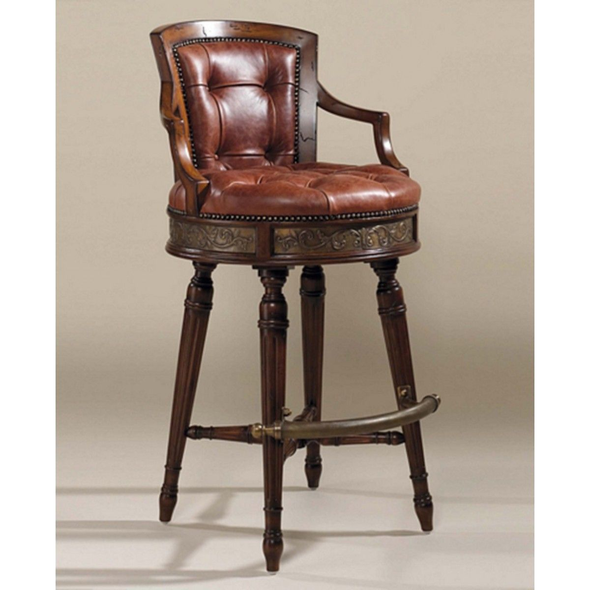 Maitland Smith Frontier Finished Mahogany Swivel Counter Stool Red Brown Leather Upholstery Bar Stools Swivel Counter Stools Bar Furniture