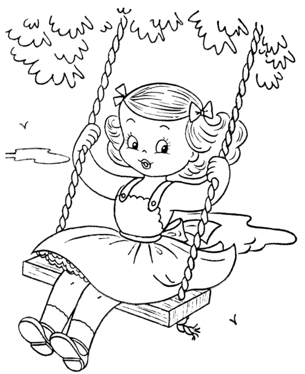 Little girl playing swing summer coloring pages for Little girls coloring pages