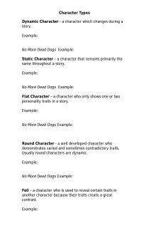 Character Types Worksheet Free Document Download For