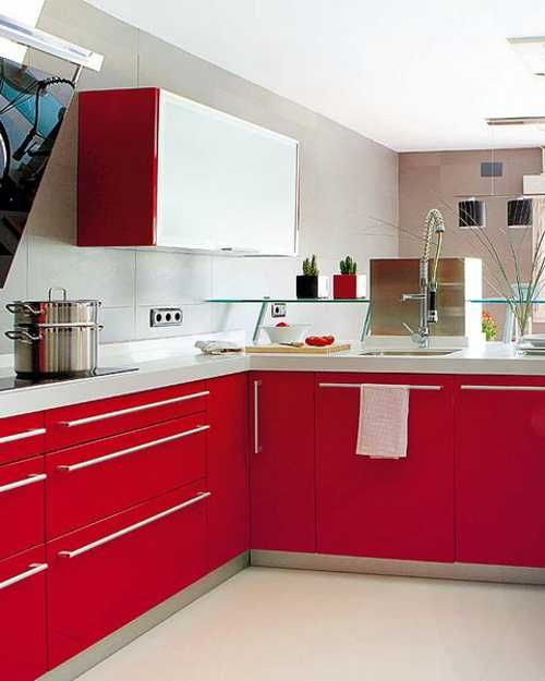 Delightful Red Kitchen Cabinets In Contemporary Style