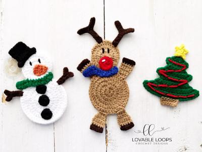 Free Reindeer Crochet Pattern Reindeer Applique Crochet Pattern Christmas Applique Patterns Christmas Applique Crochet Christmas Trees