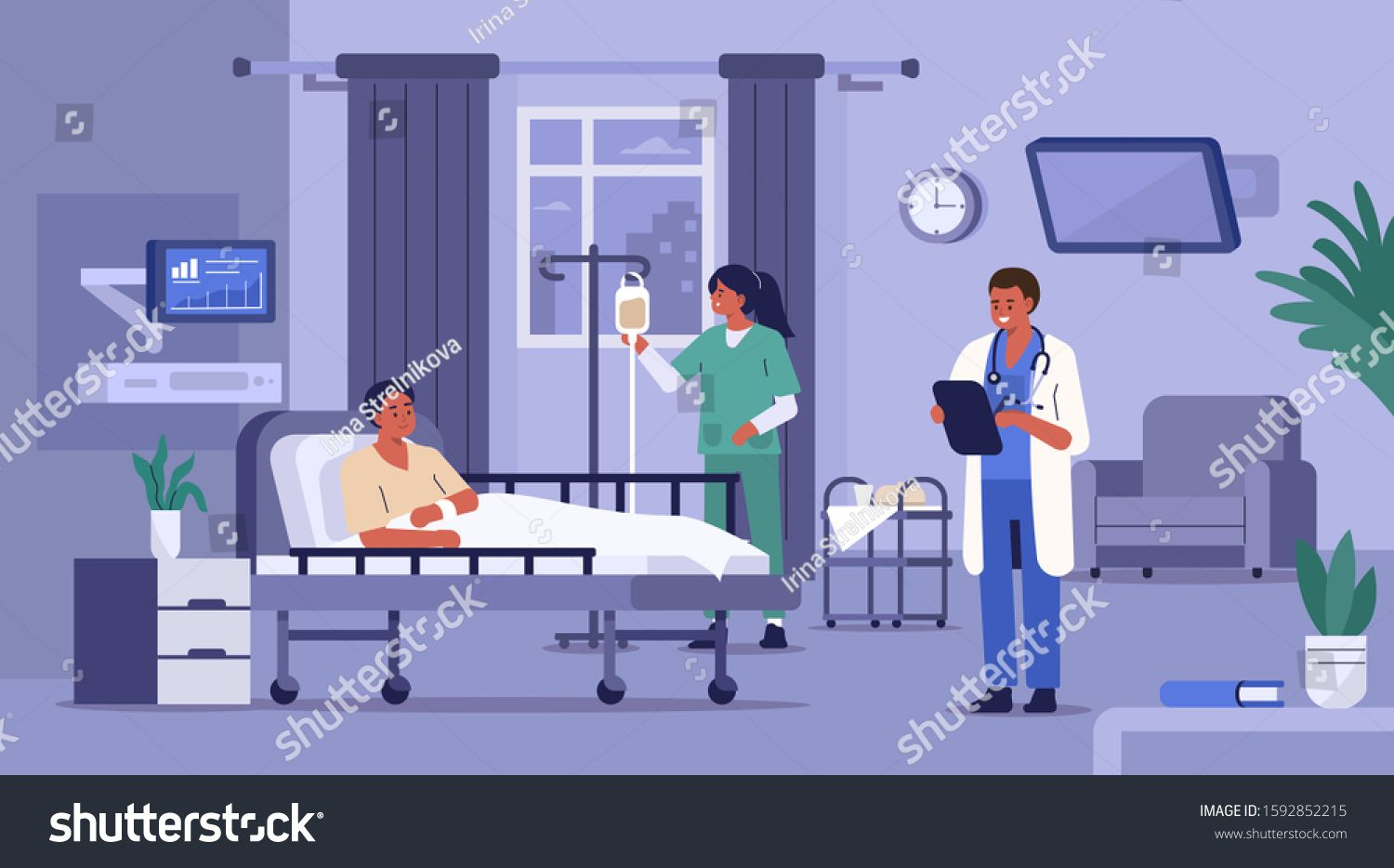 Hospitalized Patient Lying in Hospital Bed. Medical Staff