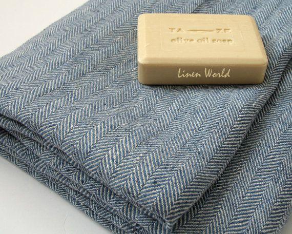 Large 100 Linen Bath Towel Blue Herringbone Linen Bath Sheet Beach Towel Baby Blanket Organic Natural Flax Bathroom Linens Trending Guest Towels Bath Sheets Linen Towels
