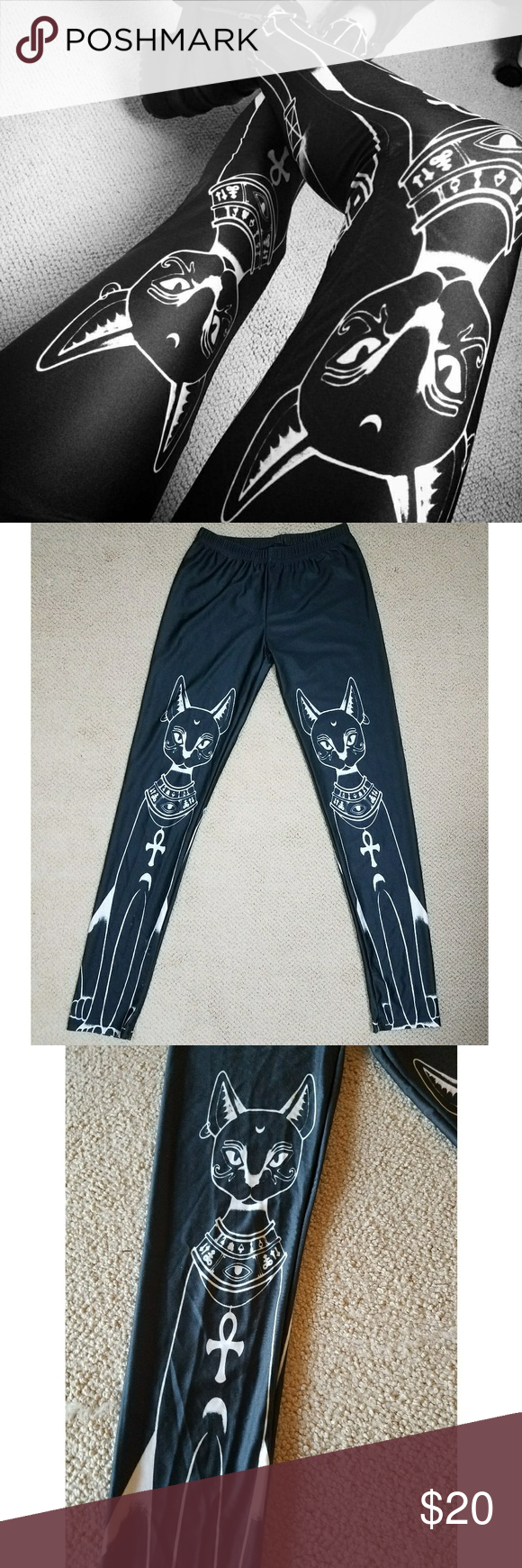 Egyptian Bast Cat Leggings Gothic Occult Witchy Bast print