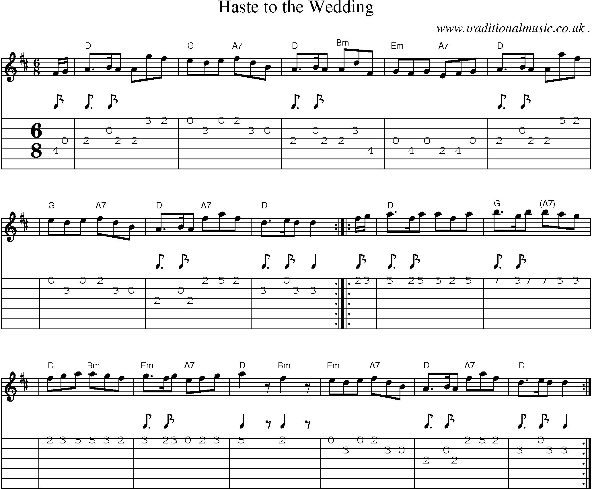 Scottish Tune Score Guitar Chords Tabs Haste To The Wedding
