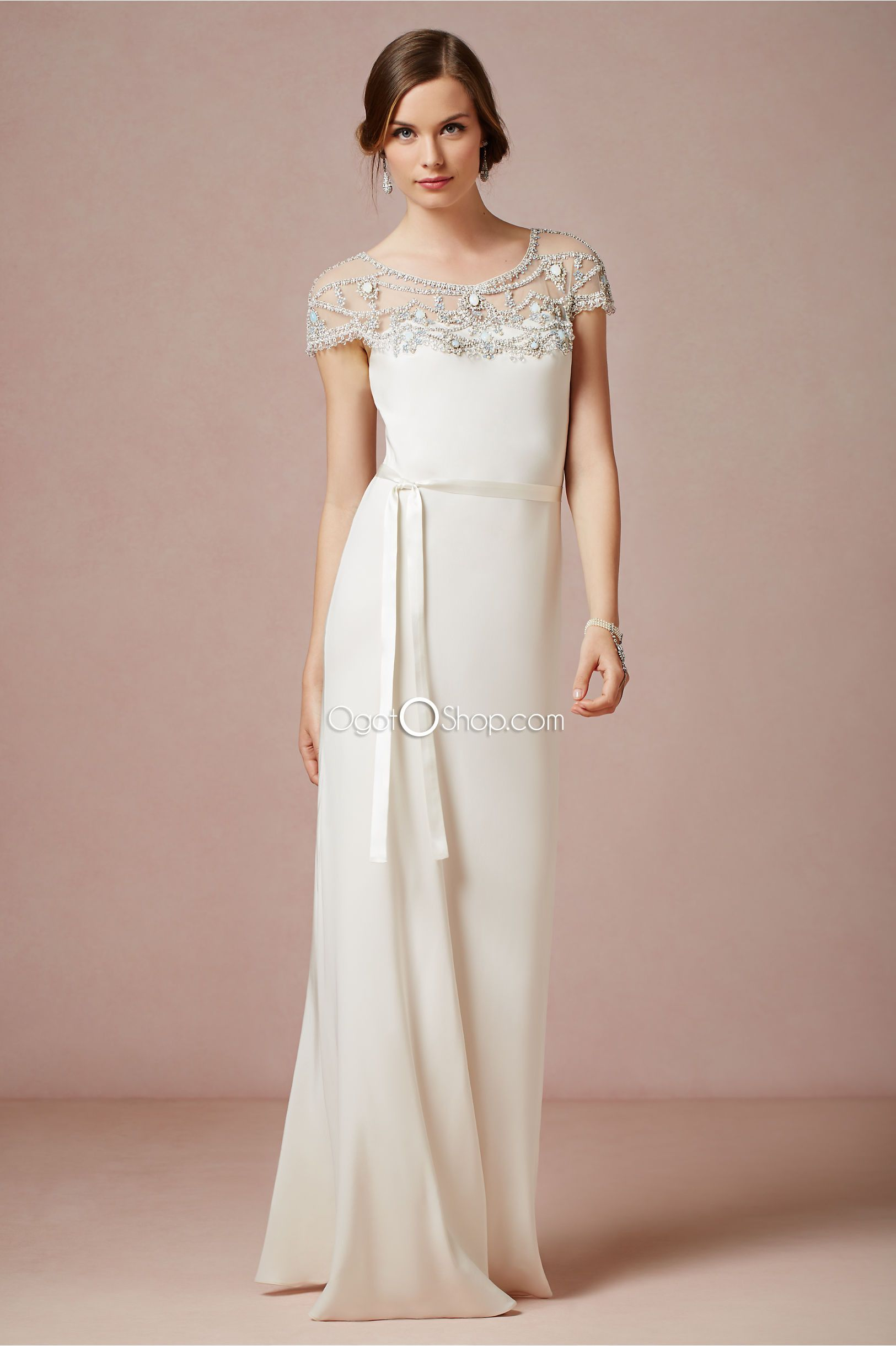 Bridal wedding dresses  Gorgeousjewelnecklinewhitesheathweddingdressesinfloorlength