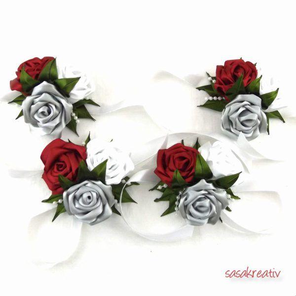 Bordó-fehér-ezüst szatén rózsás csuklódísz  44695943f2