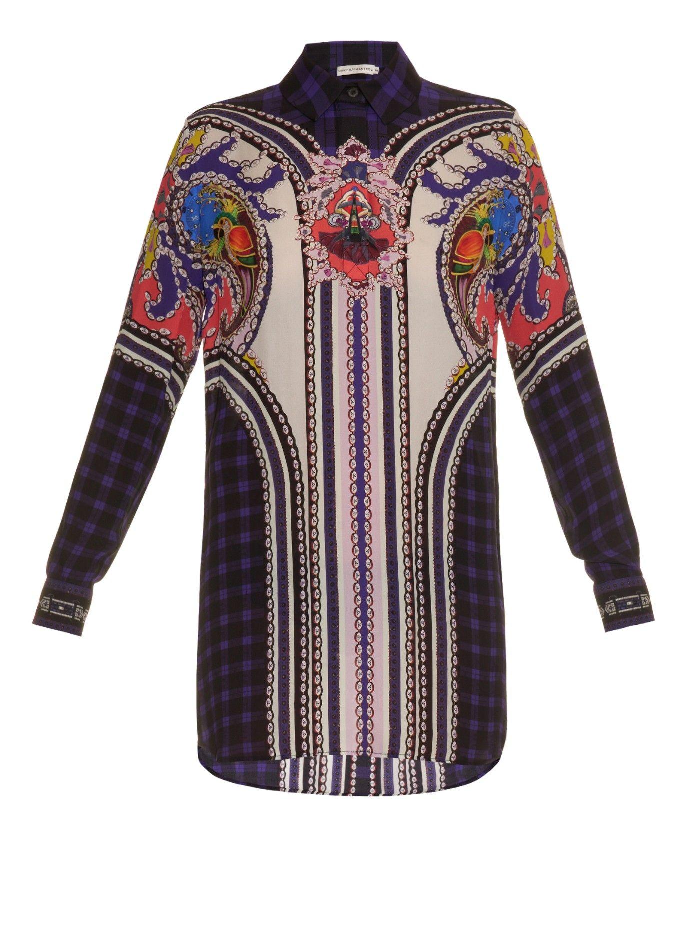 Abstractprint silk shirtdress mary katrantzou matchesfashion