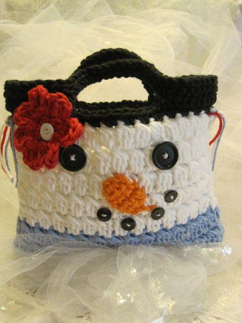 Crocheted Snowman Hand Bag for Children by CountryBumpkinBottle, $12.00