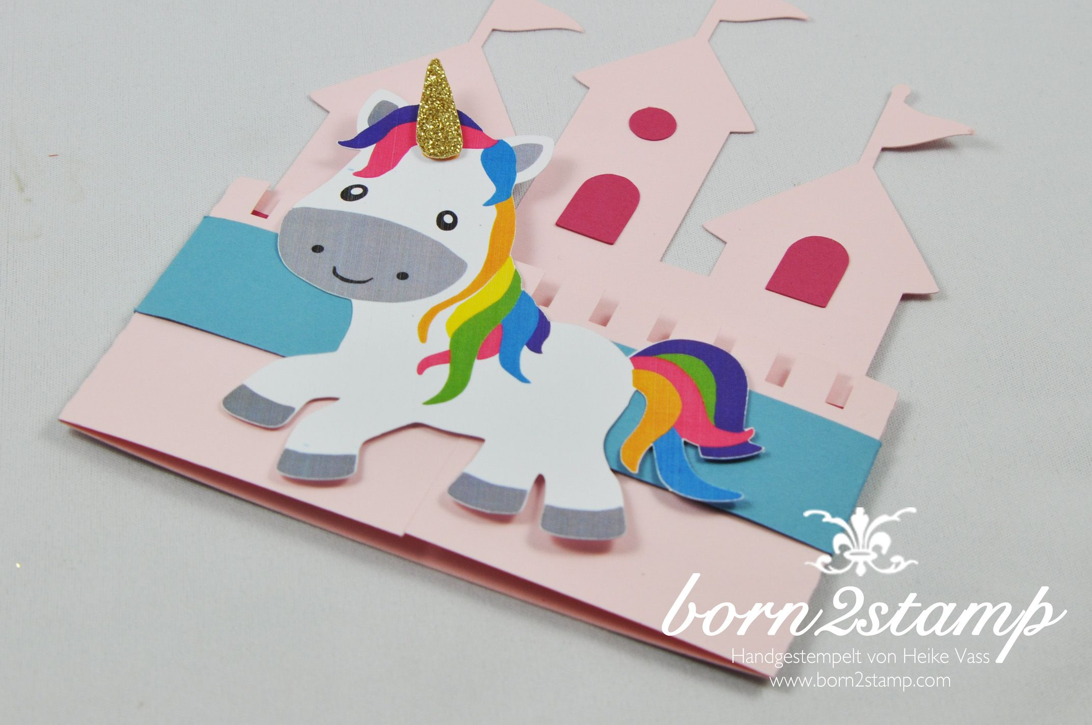 Born2stamp einhorn unicorn party einladung invitation for Einhorn deko basteln