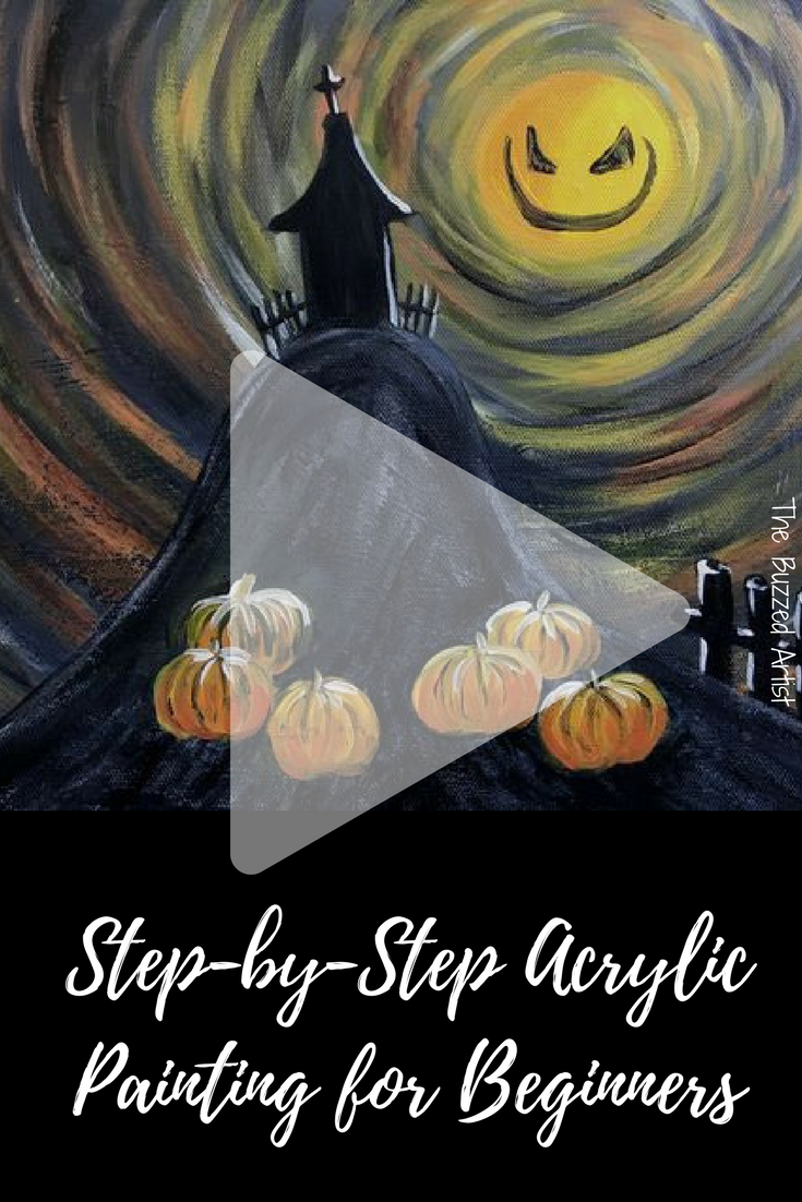 Haunted Hill Step By Painting Tutorial For Beginners Halloween Dy Youtube Cute766