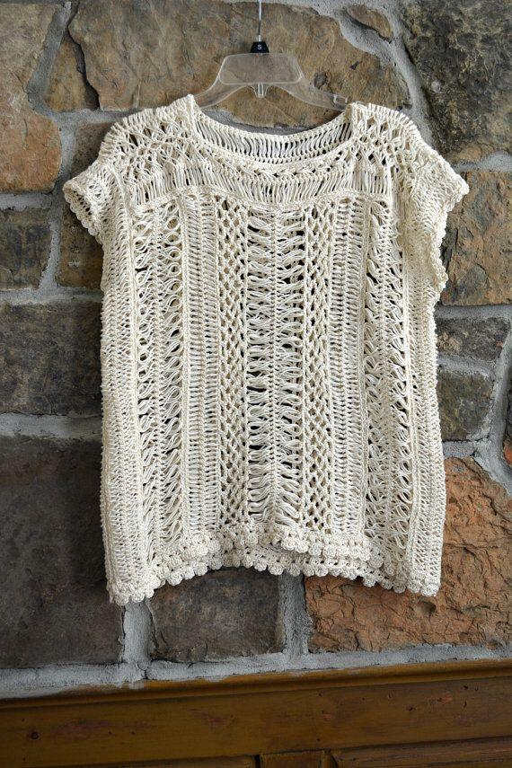 Hairpin Lace Oversize Tunic, Crochet Top, Cream Tunic, Cream Sweater ...