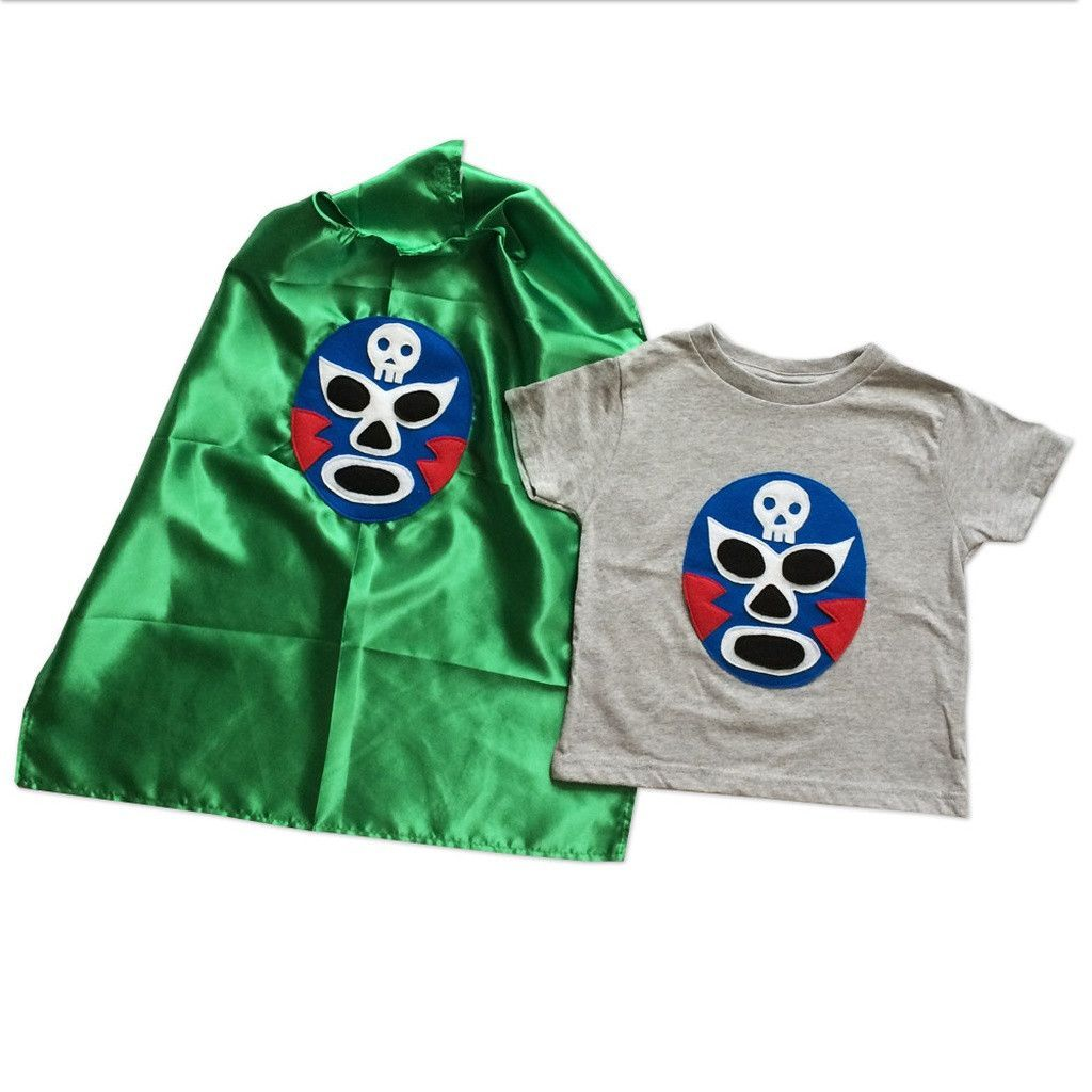48fae9913e8d5 Kid's Cape and Shirt-Luchador Azul - Blue Mexican Wrestler Toddler T ...