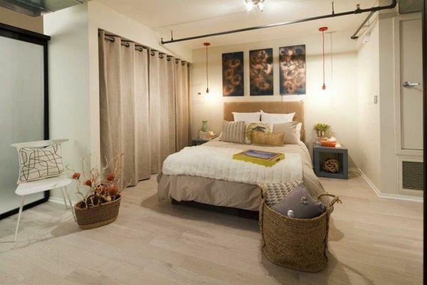 Verdunkelungsvorhang Schlafzimmer ~ Schlafzimmer elegant trennwand aufteiler beige farbgestaltung
