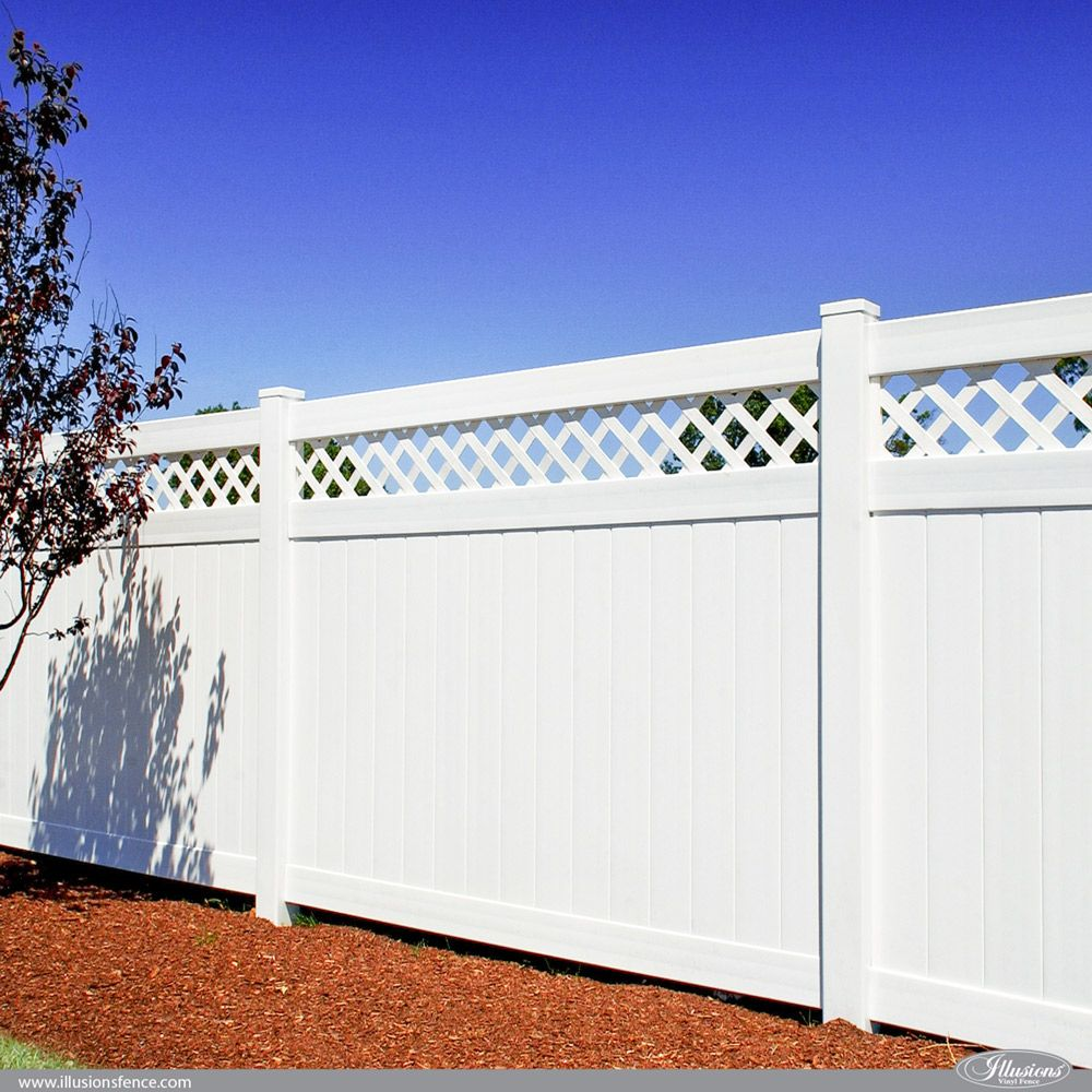 Illusions Vinyl Pvc Privacy Fencing Panels In White Fence Fences Fencepanels Privacyfence Fencecompany Fe In 2020 Vinyl Privacy Fence Privacy Fences Fence Styles
