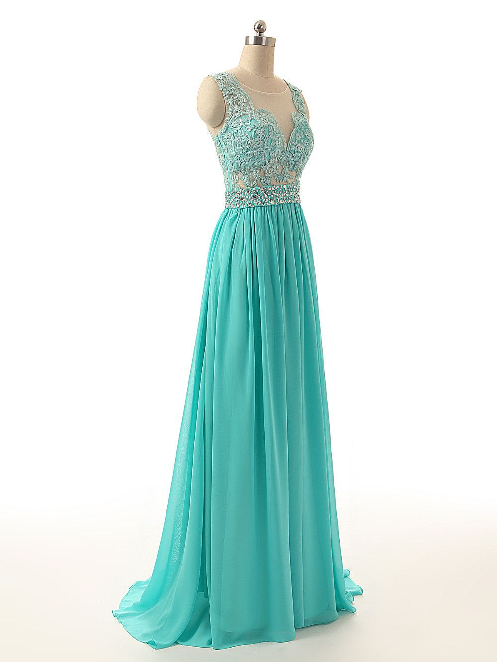 Sheer neck back see through turquoise long bridesmaid dress unique